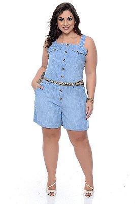 Macaquinho Jeans Plus Size Vanita