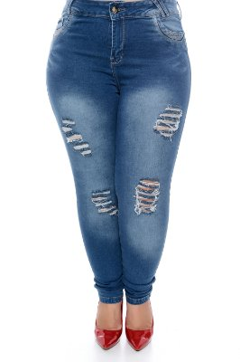 Calça Skinny Jeans Plus Size Virgie