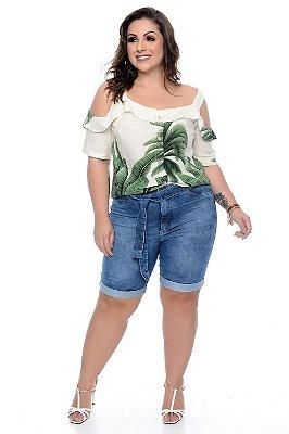 Bermuda Jeans Meia Coxa Plus Size Dilcea
