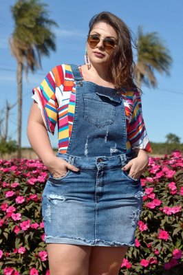 Salopete Jeans 2 em 1 Plus Size Nakia