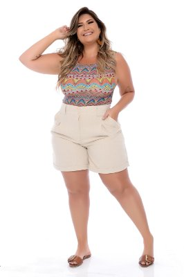 Shorts de Linho Plus Size Kathini