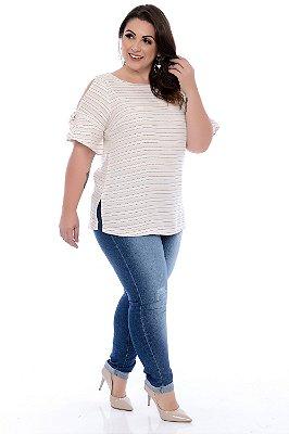 Calça Cigarrete Jeans Plus Size Dediane