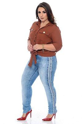 Calça Cigarrete Jeans Plus Size Katrine