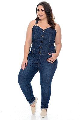 Macacão Jeans Cropped Plus Size Nalya