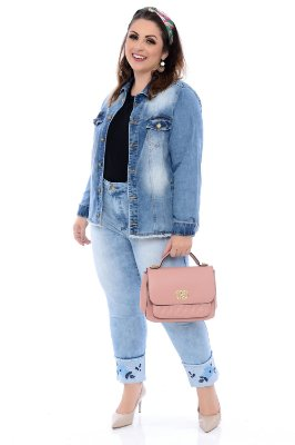 Jaqueta Jeans Plus Size Soliene