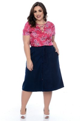 Saia Jeans Midi Plus Size Solange