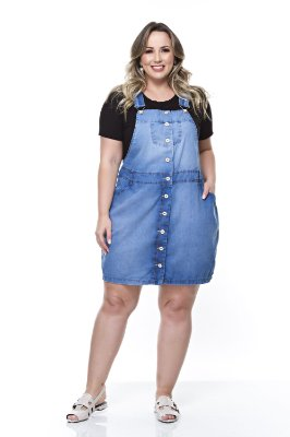Jardineira Jeans Plus Size Beladona