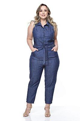 Macacão Jeans Plus Size Kally