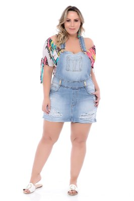 Jardineira Jeans Plus Size Siara