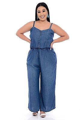 Macacão Jeans Plus Size Elanda