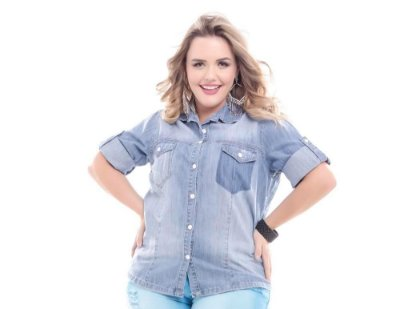 Camisa Plus Size Jeans Fashion
