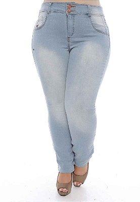 Calça Plus Size Jeans Delavê