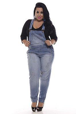 Jardineira Jeans Plus Size Delavê