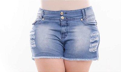 Shorts Plus Size Jeans Delavê Destroyed