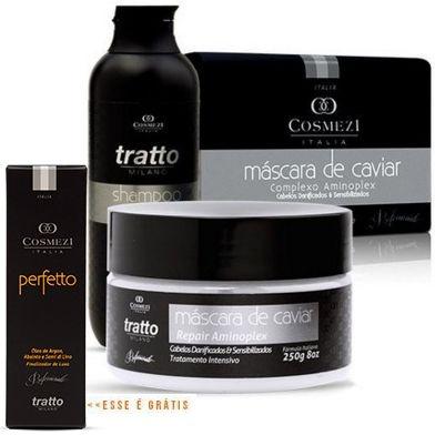 Promoção de verão Tratto   Máscara de Caviar 250g + Shampoo de Caviar 250ml + Perfetto