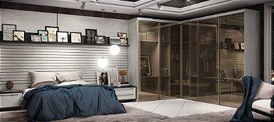 Cabiçeira e Closet com Portas em Vidro Fumê - Linha Premium - MM Móveis Planejados