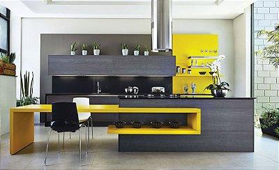 Cozinha Planejada Amarela - Linha Premium - MM Móveis Planejados