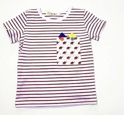 Camiseta Bebê Elefantinho Masculina Kiki