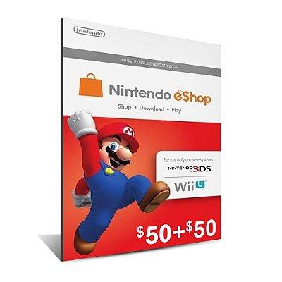 Cartão Nintendo e-Shop 100 Dólares