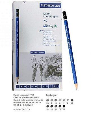 Estojo Staedtler Mars Lumograph - 12 unidades - Metalizado