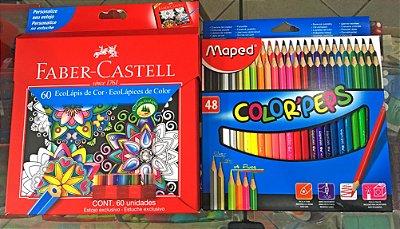 Lápis de Cor Faber Castell 60 Cores + Lápis Maped 48 CORES