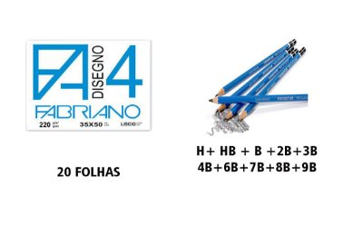 KIT PAPEL FABRIANO 35 X 50 20 folhas + COMBO LÁPIS STAEDTLER LUMOGRAPH