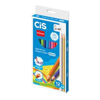 Lápis de Cor Super Color Ponta Grossa Nataraj 12 Cores CIS