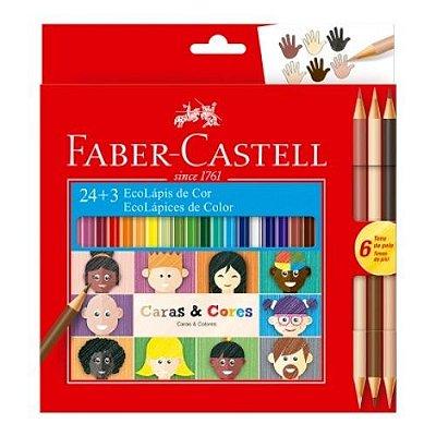 Lápis De Cor Faber Castell Caras E Cores 24 + 6 Tons De Pele