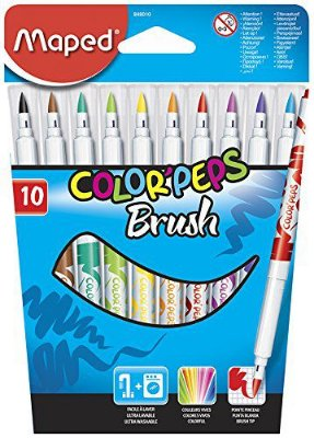 Maped Color'Peps Brush Tip Ultrawashable Markers, Assorted Colors