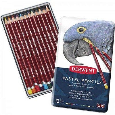 Lápis  de Cor Pastel 12 Cores Estojo Lata