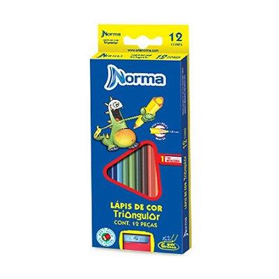 Lápis de Cor 12 Cores Triangular Ponta Grossa - Norma + Apontador