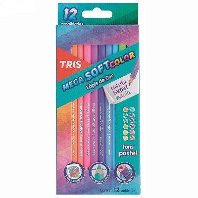 Lápis De Cor Mega Soft Color com 12 Tons Pastel Tris