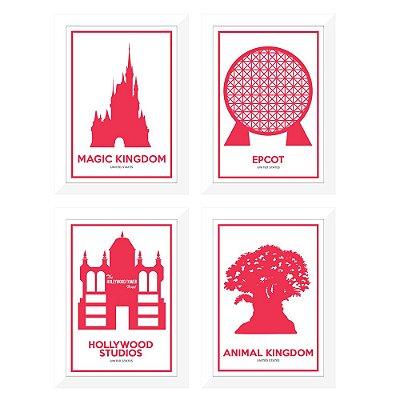 Coleção parques Disney com 4 mini-pôsteres