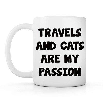 Caneca viagens e gatos