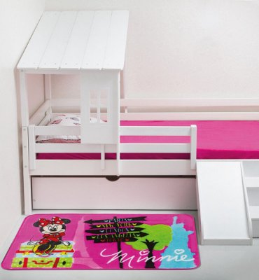 Tapete Jolitex Raschel Infantil 70 x 1,10M Base Antiderrapante e 1CM Espessura Minnie