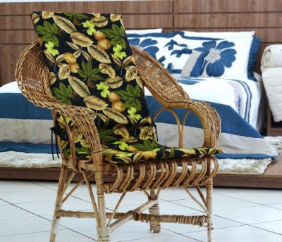 Assento para Cadeira de Área - Floral Preto