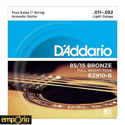 Encordoamento Daddario 011 - EZ910 - para Violão Aço