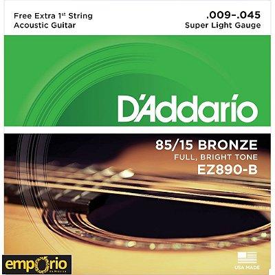 Encordoamento Daddario 009 - EZ890 - para Violão Aço