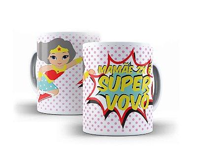 Caneca - Mamãe 2x é Super Vovó + Embalagem Especial