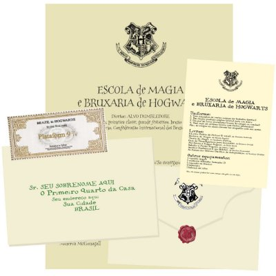 Carta Harry Potter - Convite de Hogwarts