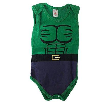 Body Bebê Menino Hulk P M G Fantasia Divertida