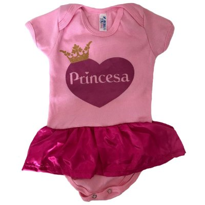 Body Bebê Menina Princesa Rosa Saia P M G Fantasia Divertida