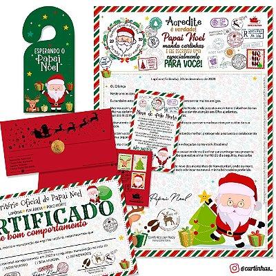 Cartinha Papai Noel | Envelope vermelho c/ 03 mimos (modelo 2020)