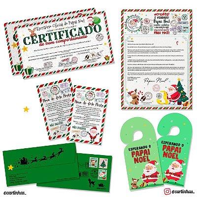 Cartinha Papai Noel | Para 2 irmãos | Envelope verde