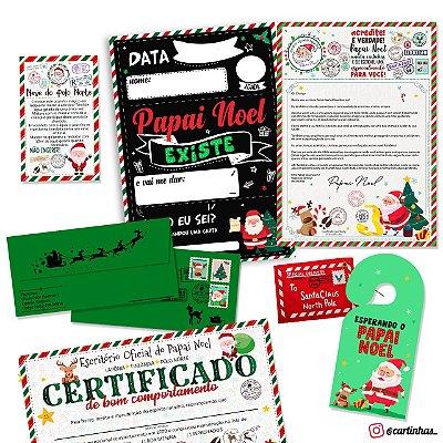 Cartinha Papai Noel | Envelope verde c/ 5 brindes LUXO