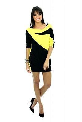 Vestido Preto e Amarelo