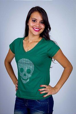 Camiseta Caveira Prateada Pontilhada