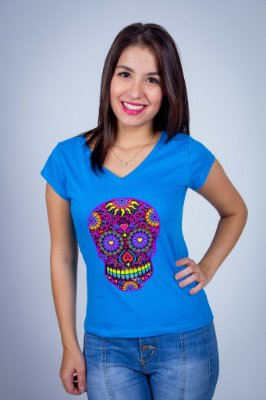 Camiseta Caveira Mexicana Colorida