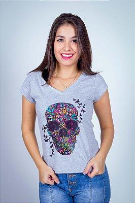 Camiseta Caveira e Borboletas