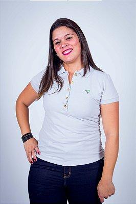Camisa Polo Feminina-Cinza